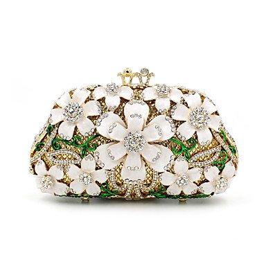 Frauen Metall formellen/Event/Party/Hochzeit Abend Tasche/Crystal Hand Tasche Diamanten Kupplung Juwel Geldbeutel, Beige