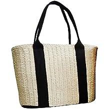 Bolso de paja de las mujeres, bolso de la playa del verano Bolso de mimbre