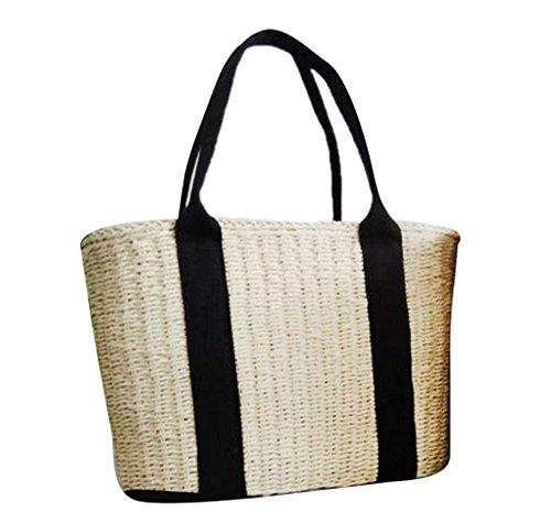 Frauen Stroh Tasche, Sommer Strandtasche Wicker Woven Schultertasche mit langen Griff Design -
