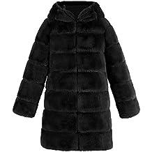 JUTOO 2018 Abrigo de Piel sintética de Lujo de Moda de Mujer con Capucha otoño Invierno