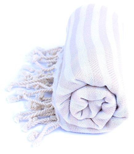 Ma Pêche XXL Hamamtuch/ Saunatuch / Strandtuch / Badetuch / Reisetuch aus reiner Baumwolle - extra leicht und schnelltrocknend, ideal für Reisen, Sauna, Bad, Strand, Baby - 90x190cm groß (Beige)