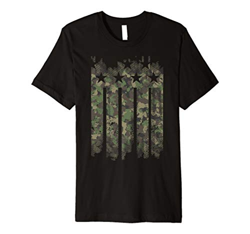 Anvil Camouflage (Camouflage Faded Distressed American Flag Graphic T-Shirt)