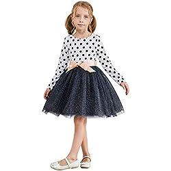 TTYAOVO Vestido de Fiesta Informal de Tul con Lunares de Manga Larga para Niñas de 2-6 Años 1-2 Años 02 Blanco