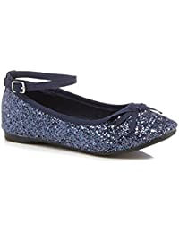 82282962f33 bluezoo Kids Girls  Navy Glitter Ankle Strap Pumps