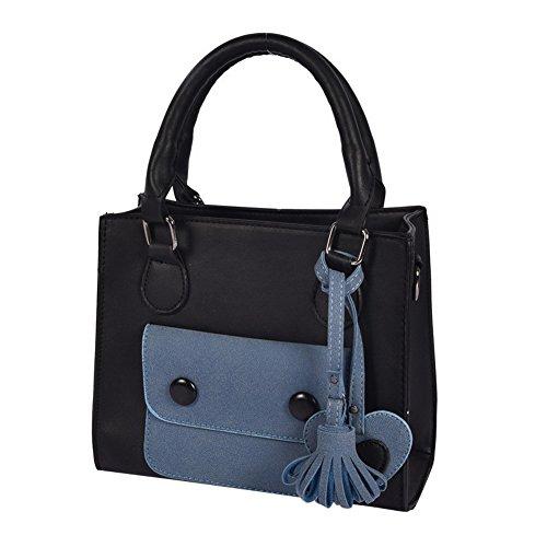 WTUS Damen Diagonale Handtasche Schlagfarbe Schultertasche 2017 Neue Mode-Taschen Umhängetasche Beuteltote Blau