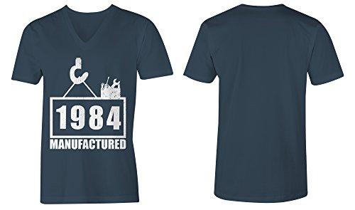 Manufactured 1984 - V-Neck T-Shirt Männer-Herren - hochwertig bedruckt mit lustigem Spruch - Die perfekte Geschenk-Idee (03) dunkelblau