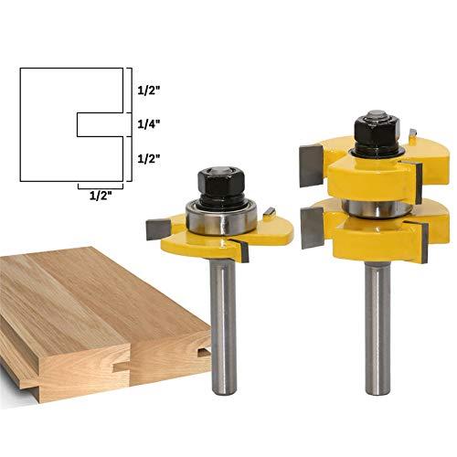 WSXTOOL 2 Stück Tongue und Groove Fräser Set 8-Griff 3-Zahn T-Messer Kit 8mm Schaft T-Form Holzfräser Holzbearbeitungswerkzeug -