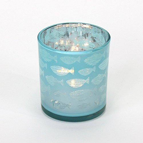 6x Windlicht Teelichtglas Kerzenhalter Türkis Blau Silber Kerzenglas Landhaus Sealife Kommunion Konfirmation Taufe Tischdeko Maritim Kerzendeko