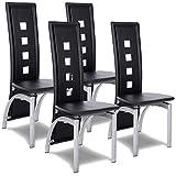 COSTWAY Esszimmerstuhl 4er Set, Küchenstuhl schwarz, Essgruppe mit Hochlehner, Sitzgruppe Küche, Stuhlgruppe 4 Stühle
