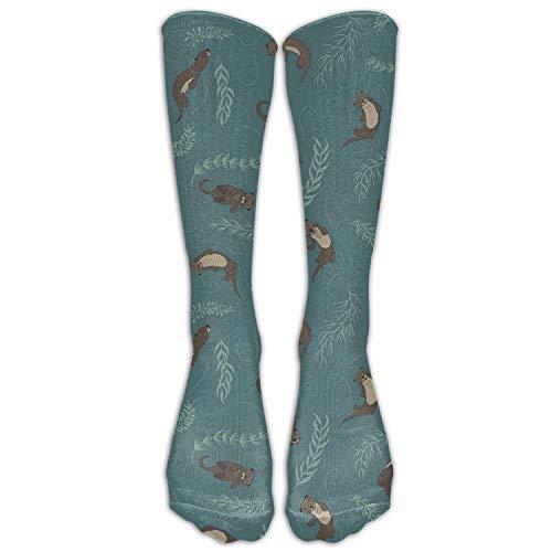 wonzhrui Animal Otter Nylon Elasticity Compression Knee Socks Kawaii Hiking Teen Cartoon Over Knee Long Tube Crew Socks