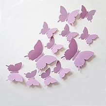ufengke® 12 Piezas Mariposas 3D Pegatinas de Pared Diseño de Moda Mariposa Bricolaje Calcomanías Arte Artesanía Decoración del Hogar, Purpúreo Claro