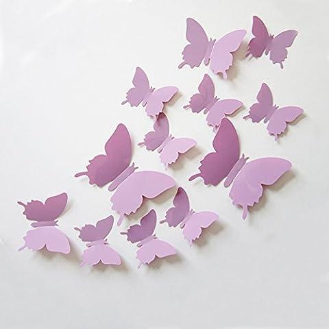 Ufengke® 12 Pièces 3D Papillons Stickers Muraux Design De Mode