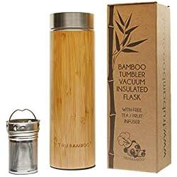 Termo de bambú de alta calidad 500 ml I frasco de aislamiento de vacío de triple pared de acero inoxidable I botella de agua Viajo de acero inoxidable I filtro taza para la infusión de frutas y té
