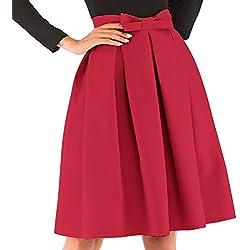 kefirlily Mujer Midi Falda Plisada Cintura Alta Vintage Falda A-Line Elegante Color Sólido con Lazo Rojo M