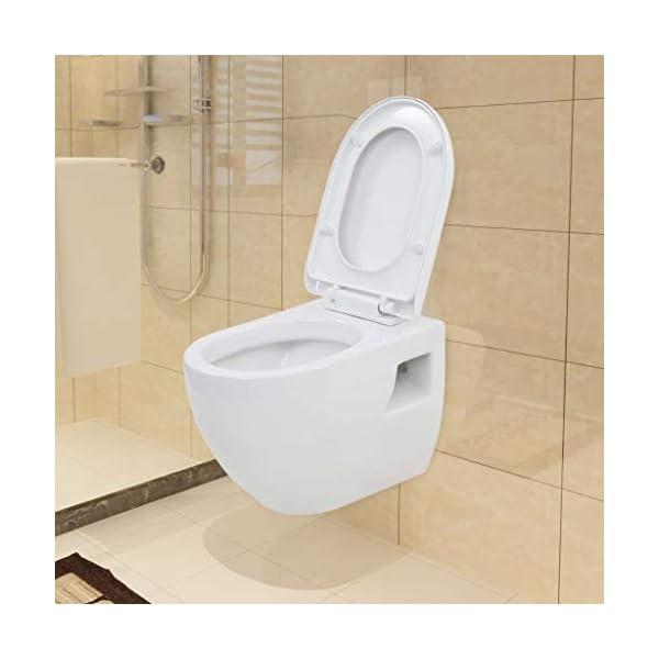 vidaXL InodoroColgado de Pared con Cisterna Oculta Cerámica Blanco Baño Váter