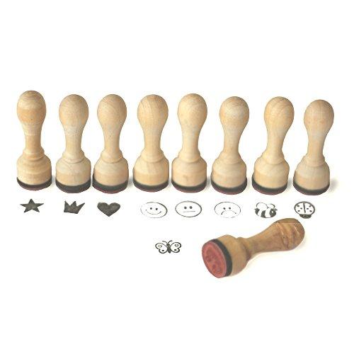9 Frau Wundervoll Lehrerstempel aus Holz, Durchmesser: 1,5 cm / Stempel / Ministempel / Dekostempel / Motivstempel