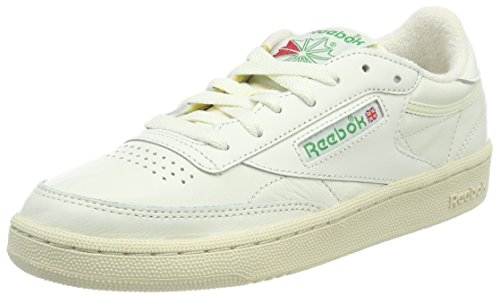 Reebok Damen Club C 85 Vintage Sneaker, Grau (Chalk/Glen Green/Paperwhite/Excellent Red), 37 EU