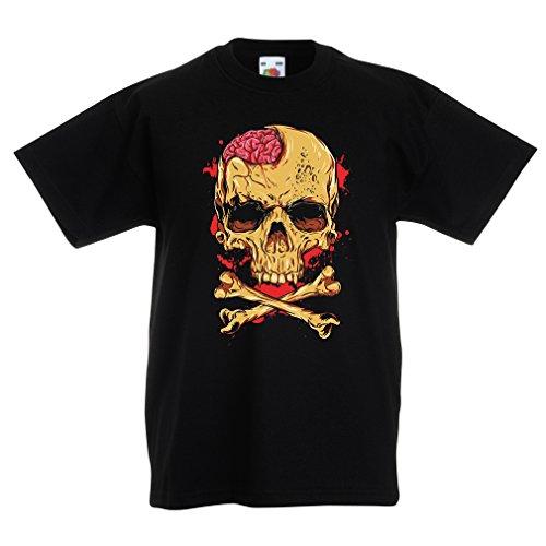 Kinder T-Shirt Der Schädel (7-8 years Schwarz Mehrfarben) (Bio-baumwoll-t-shirt Schädel)
