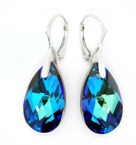 Orecchini pendenti da donna con cristalli Swarovski blu a forma di goccia, con chiusura a monachella