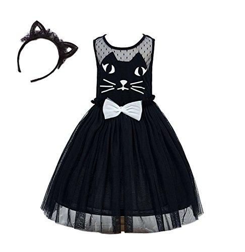 Das beste Katze Kleid Kostüm für Mädchen Tierkostüm für Kinder zu Karneval oder Fasching Cosplay (120, Schwarz+Katzenohren Haarband) Teen-disney Prinzessin Kostüme