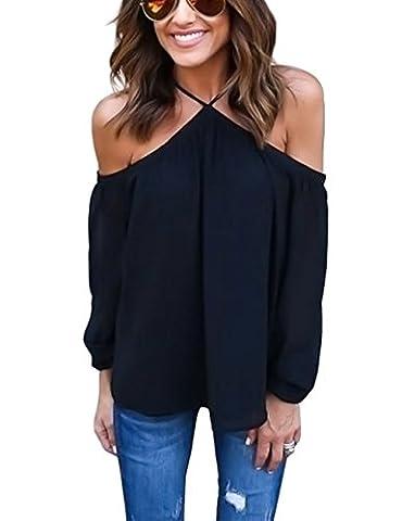 ISASSY - Sexy Chemisier Manches Longues Femme Bretelle Épaules Nues Blouse T-shirt Top - L - Noir
