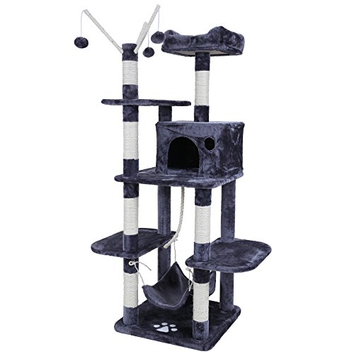 Songmics Cat Tree Cat Scratcher Activity Centres Scratching Post with a hammock Grey PCT86G