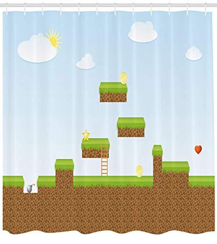 XIAOYI Kids Shower Curtain, Digital Cartoon Pixel Landscape Retro Arcade Style Gaming Theme Climb Run, Cloth Fabric Bathroom Decor Set with Hooks, 60x72 Inches, Pale Blue Green Brown (60 Einem Arcade In)