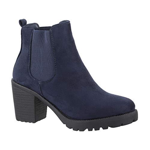 Elara Damen Stiefelette | Bequeme Ankle Boots | Chunkyrayan KA523-1sl Navy-40