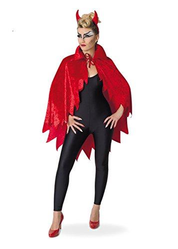 Devil Kostüm Lady (Kostüm für Erwachsene Devil-Cape Umhang in teuflischem Rot und Samtoptik mit Fetzen)