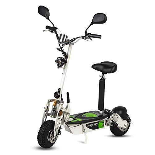 ECOXTREM Patinete, Scooter Tipo Moto Eléctrico Dos Ruedas, Color Blanco, Plegable, con suspensión, Motor de 800W, Velocidad hasta 40km/h, Autonomía hasta 30-40km. Retrovisores, Velocimetro, luz Foco.