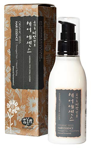 WHAMISA Organic Seeds Hair Essence - Leave-In Moisturizer Pflege für Trockenes Haar Locken Naturlocken Spliss Fliegende Beschädigte Haare - Intensive Haarkur Koreanische Naturkosmetik - 120ml