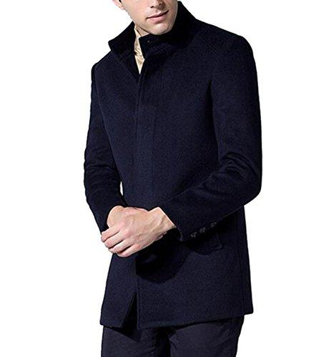 Maschio Collare Cappotto In Lana Nella Sezione Lunga Giacca A Vento darkblue