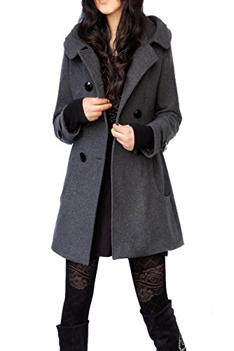 Wolle Für Frauen Winter Mäntel (LANOMI Damen Winter Mantel Jacke Wollmantel Steppmantel Trenchcoat Zweireihiger Parka Gefüttert 32-44 (Grau Gefüttert, Etikett 3XL/DE 42))