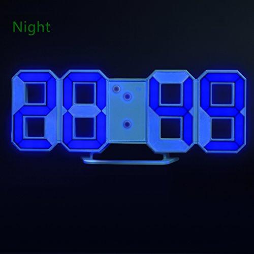 reloj despertador digital con 3 sveglie regolabili, Timorn Blue Sveglia, orologio da tavolo, Orologio da parete a LED (blu)