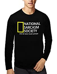 Baklol.in Men's Round Neck Full Sleeves Printed Funny T-Shirt(Sarcasm Society), Black