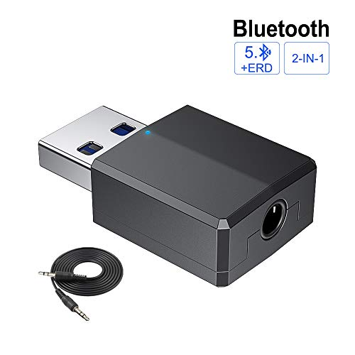 Bluetooth-Adapter 5.0 USB Dongle,Transmitter und Empfänger Bluetooth Dongle Kabellose HiFi-Audio-Adapter mit 3,5-mm-Digital-Audiokabel für PC / Kopfhörer / Maus/Tastatur/TV / Auto / Heim Bluetooth-transceiver