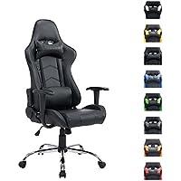 CLP Sedia gaming XXL, sedia da ufficio MIRACLE, capacità di portata fino a 150 kg, altezza regolabile 48 - 58 cm, con braccioli nero_nero