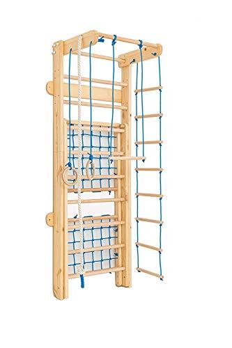 Kidsmont Kombi-Sprossenwand 5 in 1 ABNEHMBAR KLAPPBAR Sprossenwand Turnwand Klettergerüst Indoor Kletterwand Sporteck Freitzeitpark Heimsportgerät (Blau)