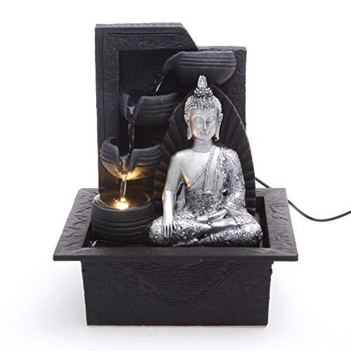 Creative Touch Silber Buddha mit 4 Wasserschalen Zimmerbrunnen mit LED Licht | Größe 21 * 17,5 * 24 cm | Design in Großbritannien, Wird mit Einem 2-Pin-EU-Adapterstecker geliefert