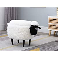 Hallowood Animal Sheep Foot Stool for Kids with Lid, Toy Storage Chest/Ottoman/Seat, Wood, Foam, Linen, ANI-SHE2