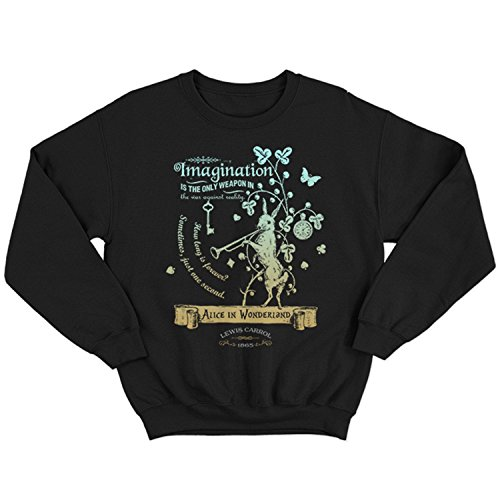 Flamentina 5016 Alice In Wonderland Mens Sweatshirt Lewis Carroll White Rabbit Cheshire Cat Fantasy Children Adventures