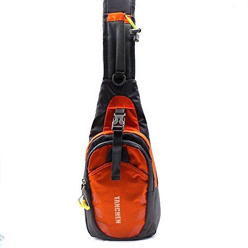 Tanchen Sling borsa impermeabile sport petto in palestra marsupio zaino a spalla tracolla, borsa a tracolla, Uomo unisex, Black Orange