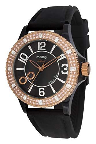 Moog Paris Huit Montre Femme avec Cadran Noir, Eléments Swarovski, Bracelet Noir en Silicone - M45522-003