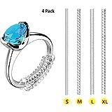 Anillo de ajuste de tamaño de anillo con clip invisible, transparente, para anillo suelto, juego de 4 tamaños, paquete de 4