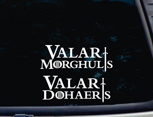 Valar Morghulis, Valar dohaeris Set von 2–20,3x 7,6cm & 71/5,1x 7,6cm die cut vinyl Aufkleber für Windows, Autos, Lkws, Werkzeugkästen, Laptops, MacBook–praktisch jede Harte, glatte Oberfläche