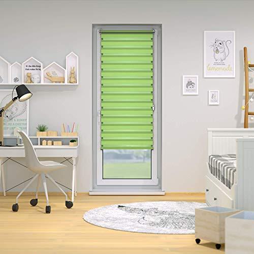 VICTORIA M Doppelrollo 75 x 150cm grün – Klemmfix Duo-Rollo ohne Bohren mit Klemmträgern - 3