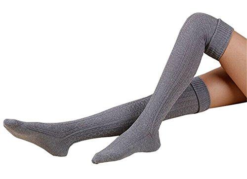 DRESHOW Damen Warme Beinlinge Over Knie Bein Wärmer Knit Häkeln Socken Leggings (Knit Cotton Leggings)