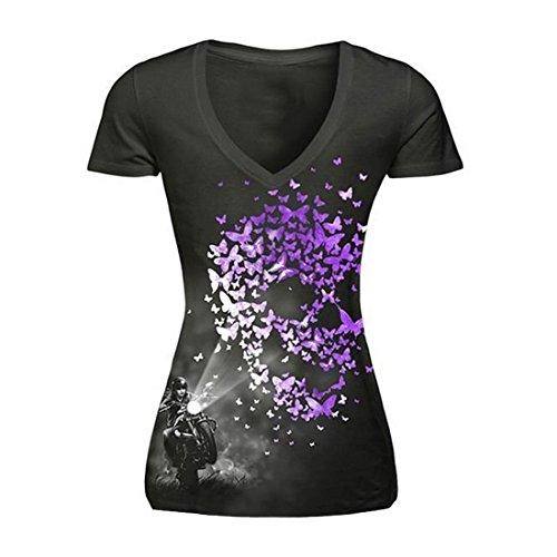 Vertvie Damen T-Shirt Sport Shirt 3D Digital Druck Kurzarm Vest Top Sport-Oberteil Laufshirt Freizeit Tank Top (Schwarz 2, S/EU 36)