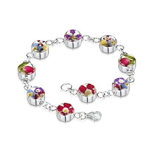 Silberarmband mit gemischten Blumen - Sm Runde Glieder + Geschenkbox Sm Blume
