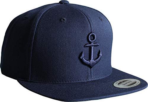 Cap: Anker- Flexfit Snapback - Urban Streetwear - Männer Mann Frau-en - Baseball-cap - Hip-Hop Rap - Mütze - Kappe - Kapitän Seemann - Angler - Hamburg - Basecap (Navy)